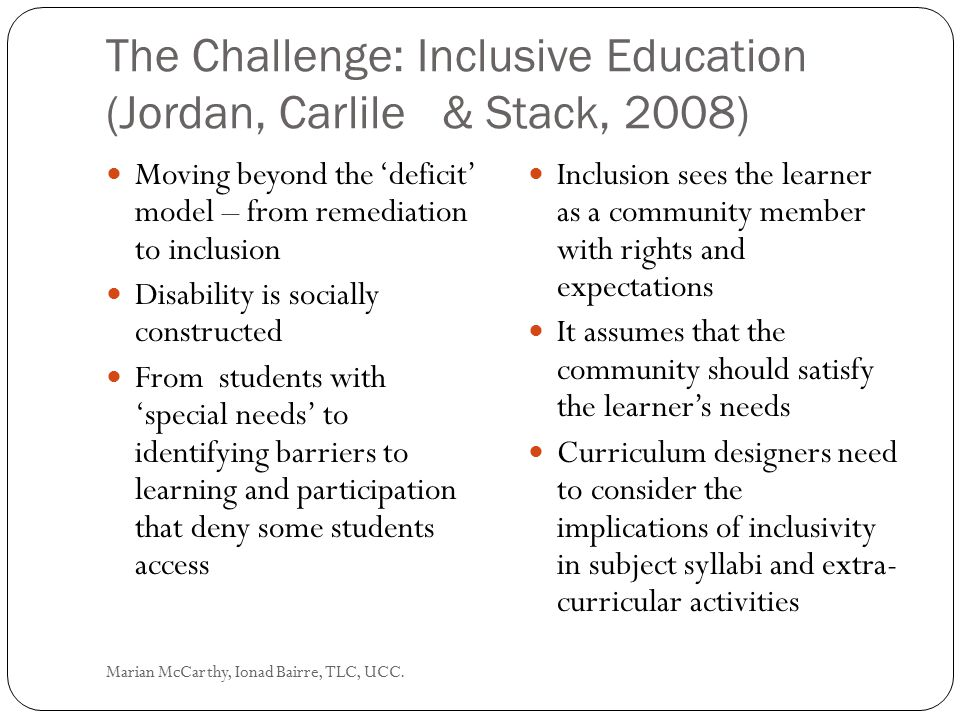 The Challenge: Inclusive Education (Jordan, Carlile & Stack, 2008)