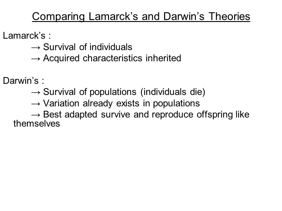 Comparing Lamarck's and Darwin's Theories
