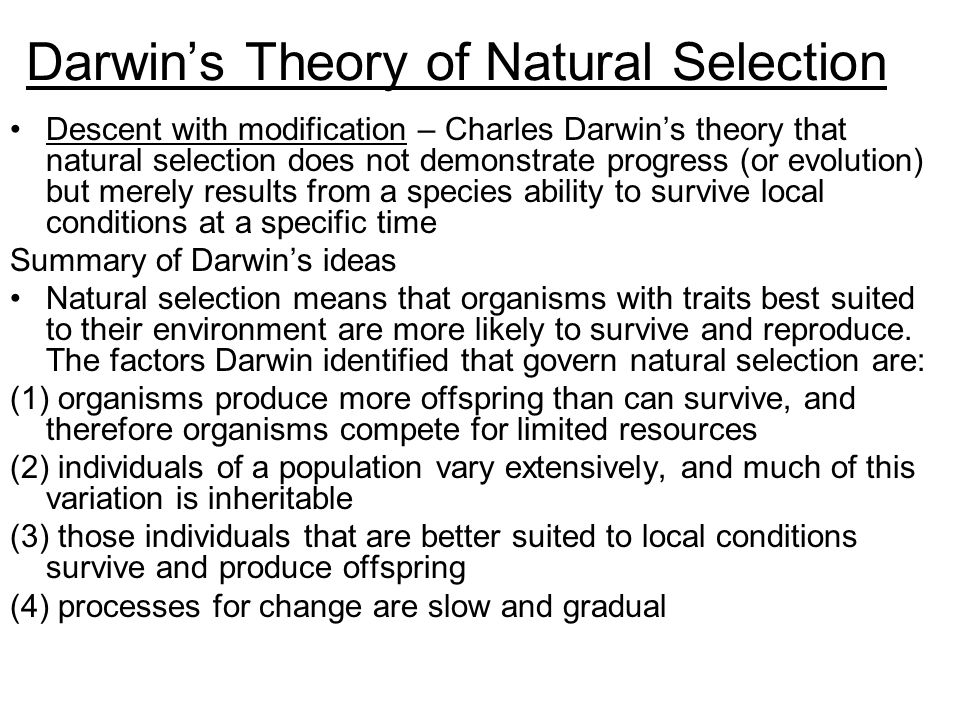 an overview of the theory of natural selection and the role of charles darwin Fisher even argues that the whole theory of natural selection is  the autobiography of charles darwin, 1809  j 1994 darwin's teaching of women's inferiority.