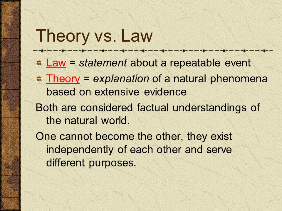 Theory vs. Law Law = statement about a repeatable event