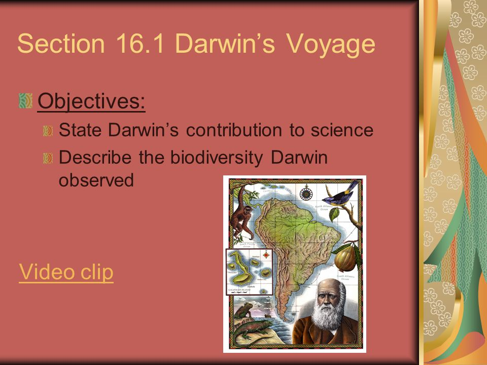 Section 16.1 Darwin's Voyage