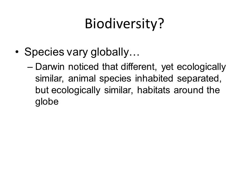 Biodiversity Species vary globally…