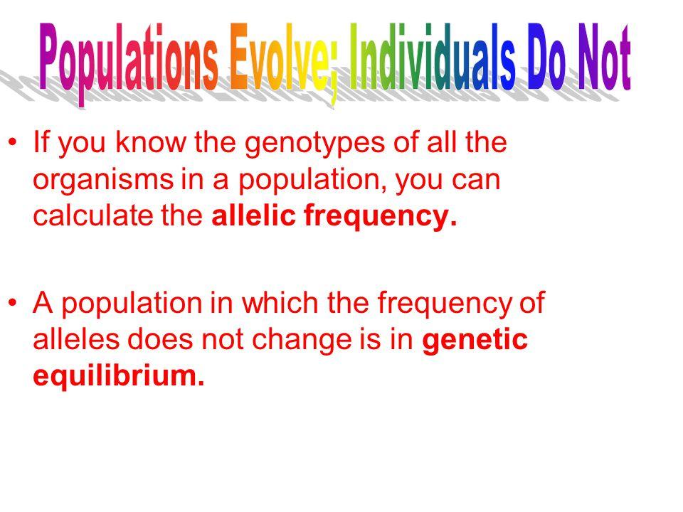 Populations Evolve; Individuals Do Not