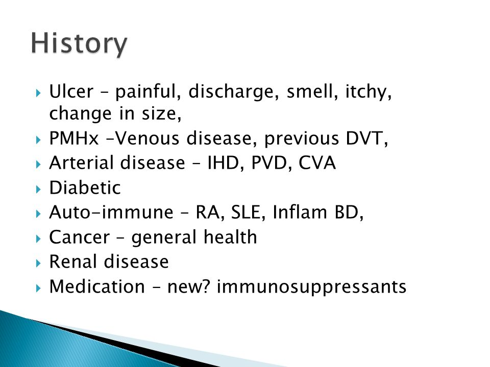 History Ulcer – painful, discharge, smell, itchy, change in size,