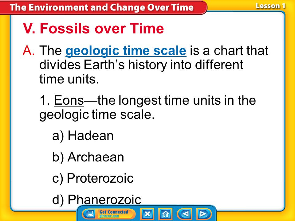 V. Fossils over Time The geologic time scale is a chart that divides Earth's history into different time units.