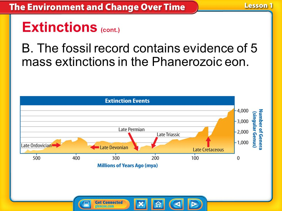 Extinctions (cont.) B. The fossil record contains evidence of 5 mass extinctions in the Phanerozoic eon.