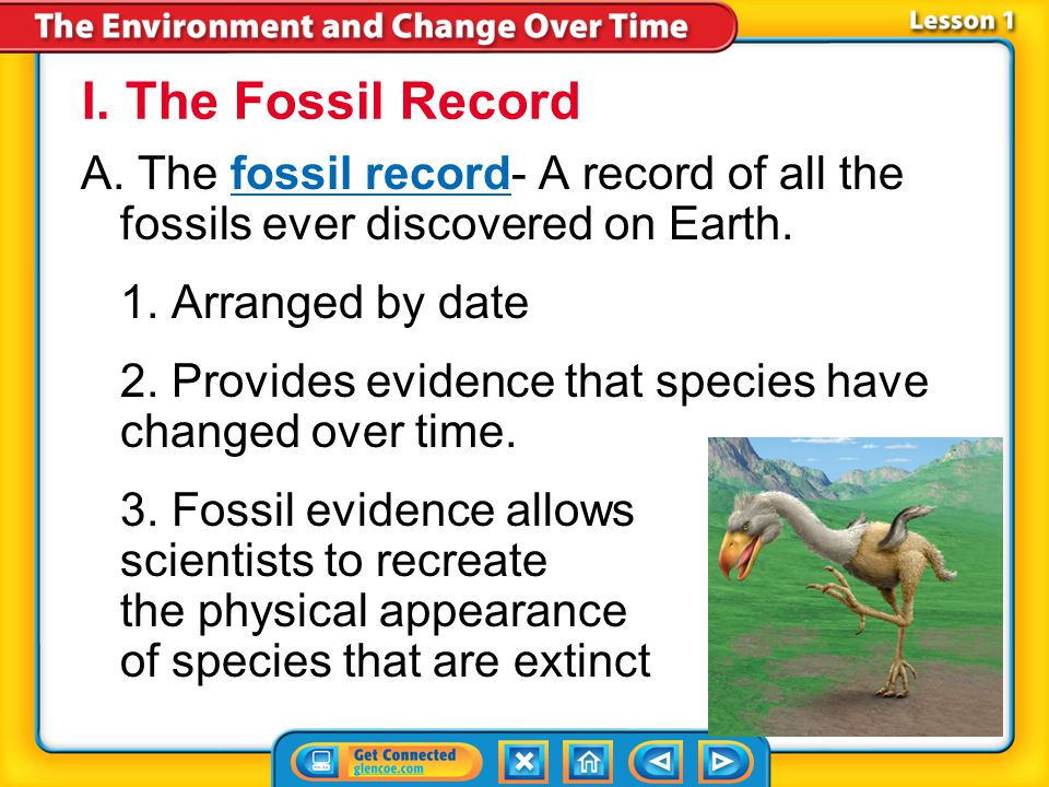 I. The Fossil Record A. The fossil record- A record of all the fossils ever discovered on Earth. 1. Arranged by date.