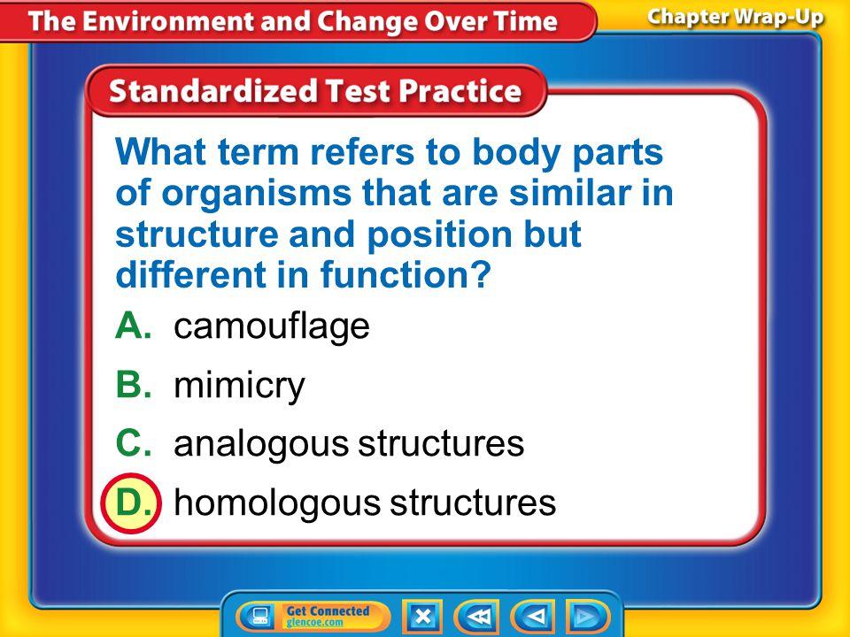 C. analogous structures D. homologous structures
