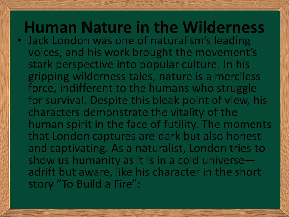 Human Nature in the Wilderness