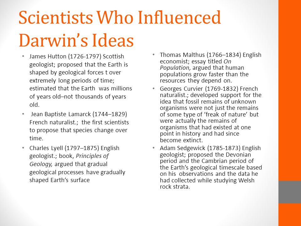 Scientists Who Influenced Darwin's Ideas
