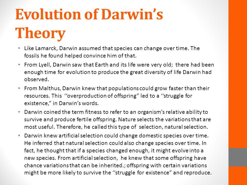 Evolution of Darwin's Theory