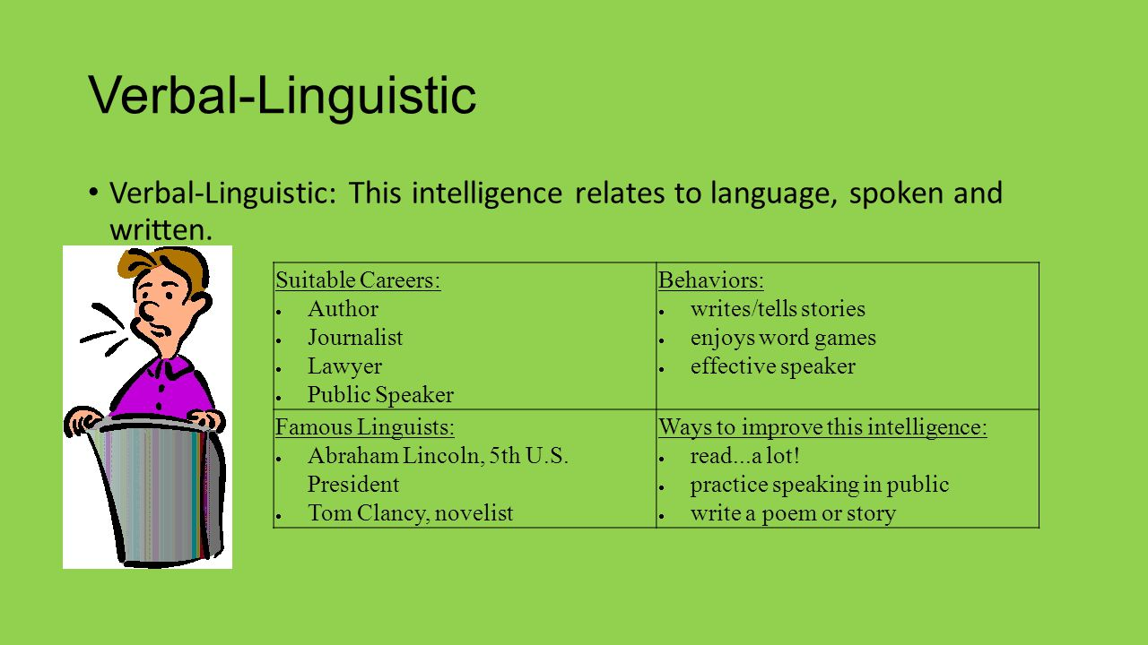 Verbal-Linguistic Verbal-Linguistic: This intelligence relates to language, spoken and written. Suitable Careers: