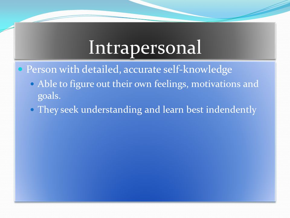 Intrapersonal Person with detailed, accurate self-knowledge