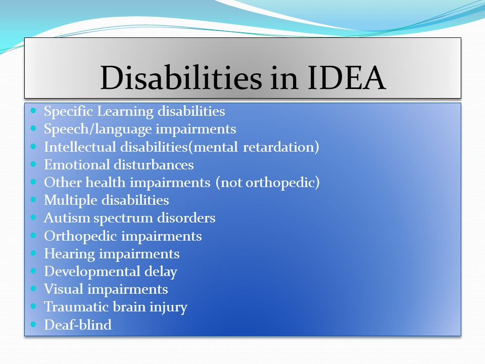 Disabilities in IDEA Specific Learning disabilities
