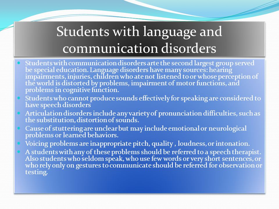 Students with language and communication disorders