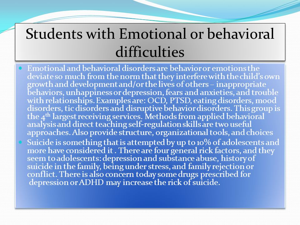 Students with Emotional or behavioral difficulties