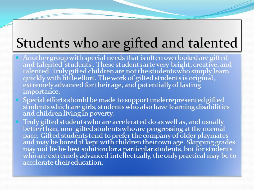 Students who are gifted and talented