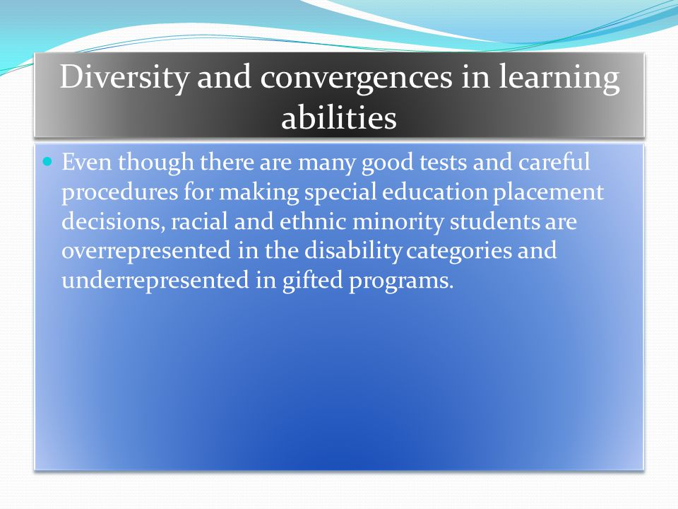 Diversity and convergences in learning abilities