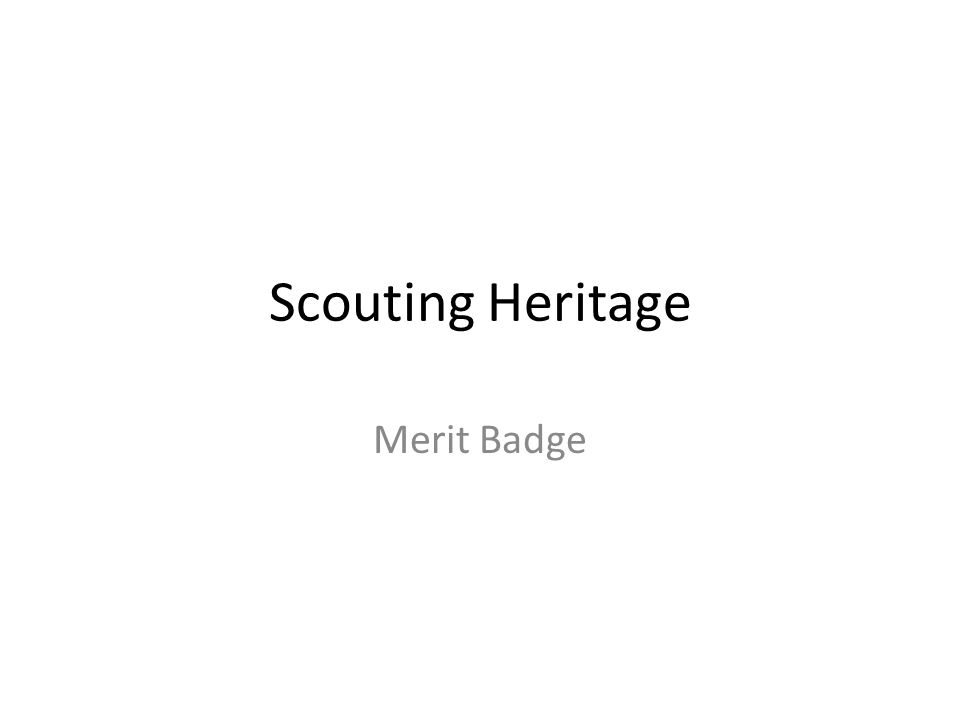 Scouting Heritage Merit Badge