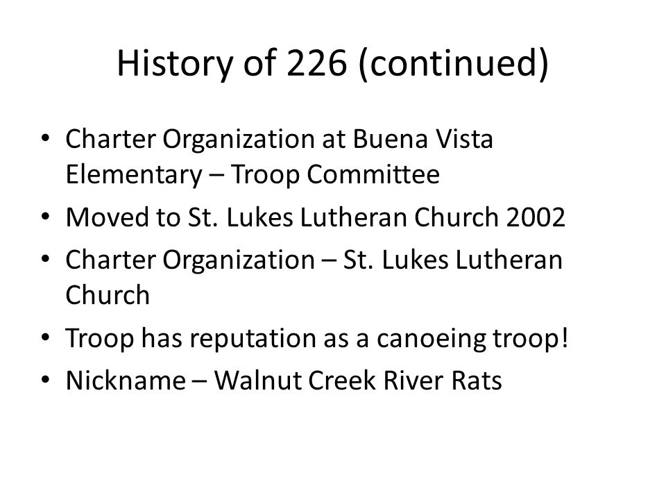 History of 226 (continued)