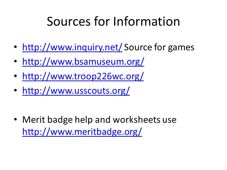 Sources for Information