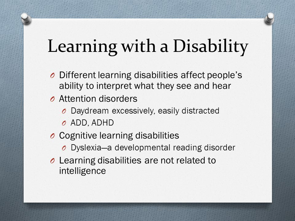 Learning with a Disability
