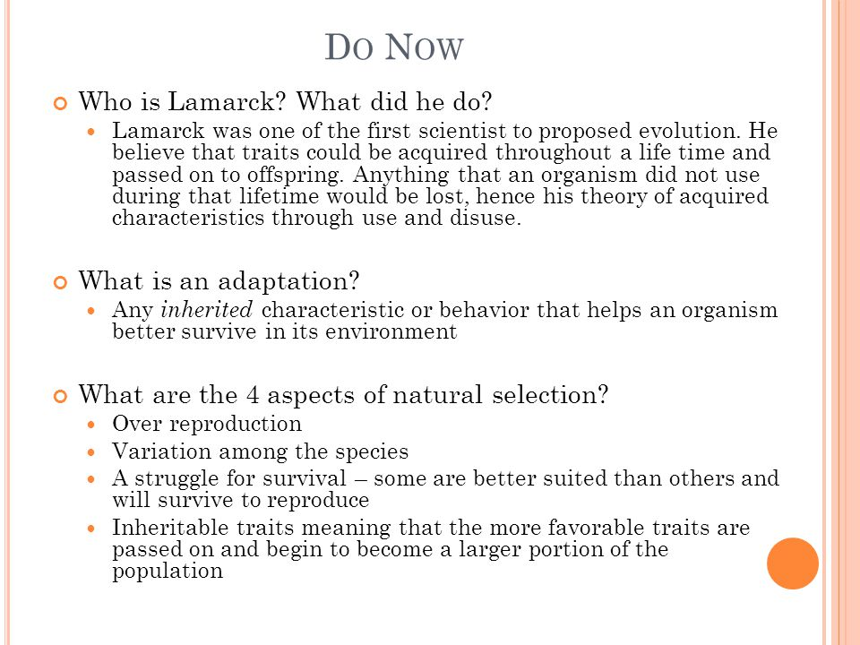 Do Now Who is Lamarck What did he do What is an adaptation