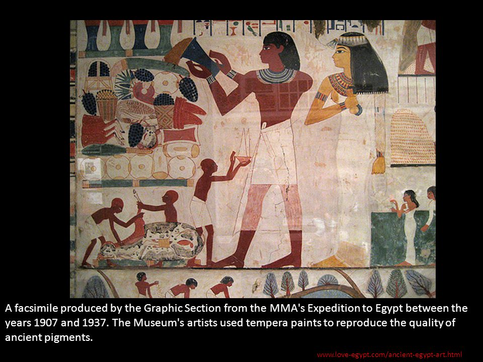 A facsimile produced by the Graphic Section from the MMA s Expedition to Egypt between the years 1907 and 1937. The Museum s artists used tempera paints to reproduce the quality of ancient pigments.