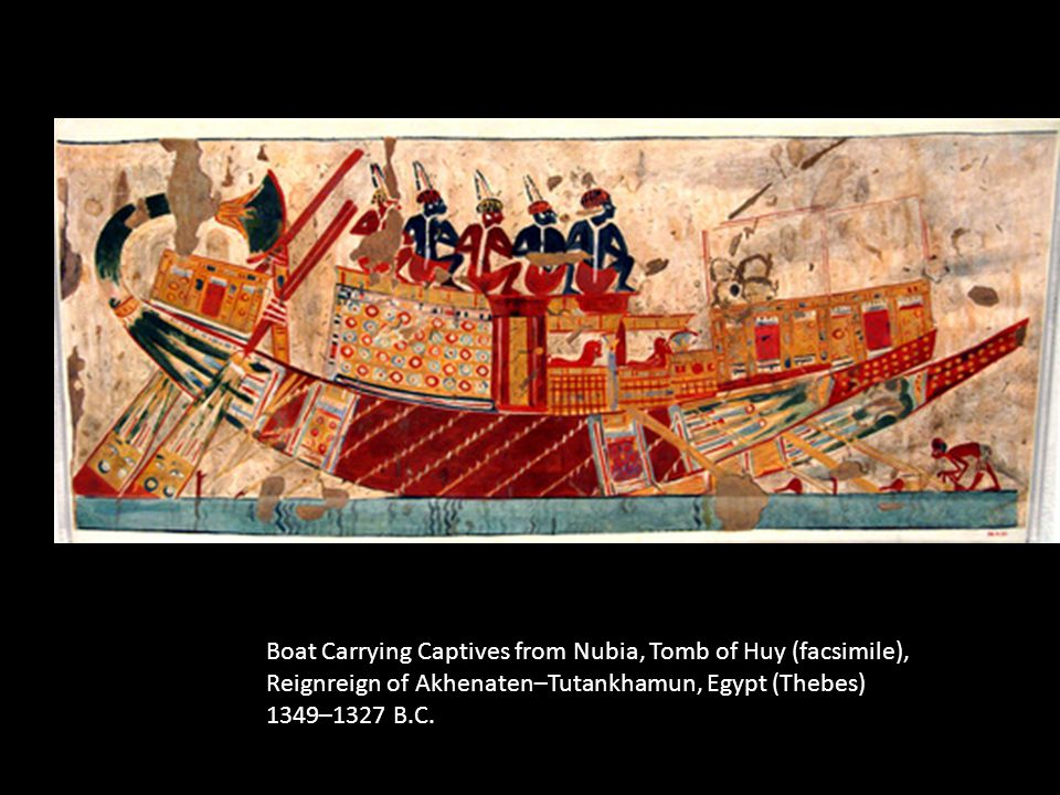 Boat Carrying Captives from Nubia, Tomb of Huy (facsimile),