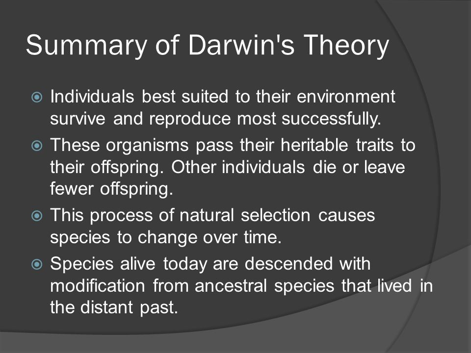 Summary of Darwin s Theory