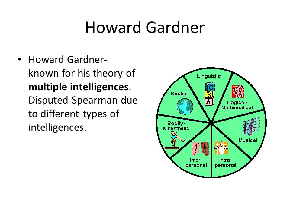 Howard Gardner Howard Gardner- known for his theory of multiple intelligences.