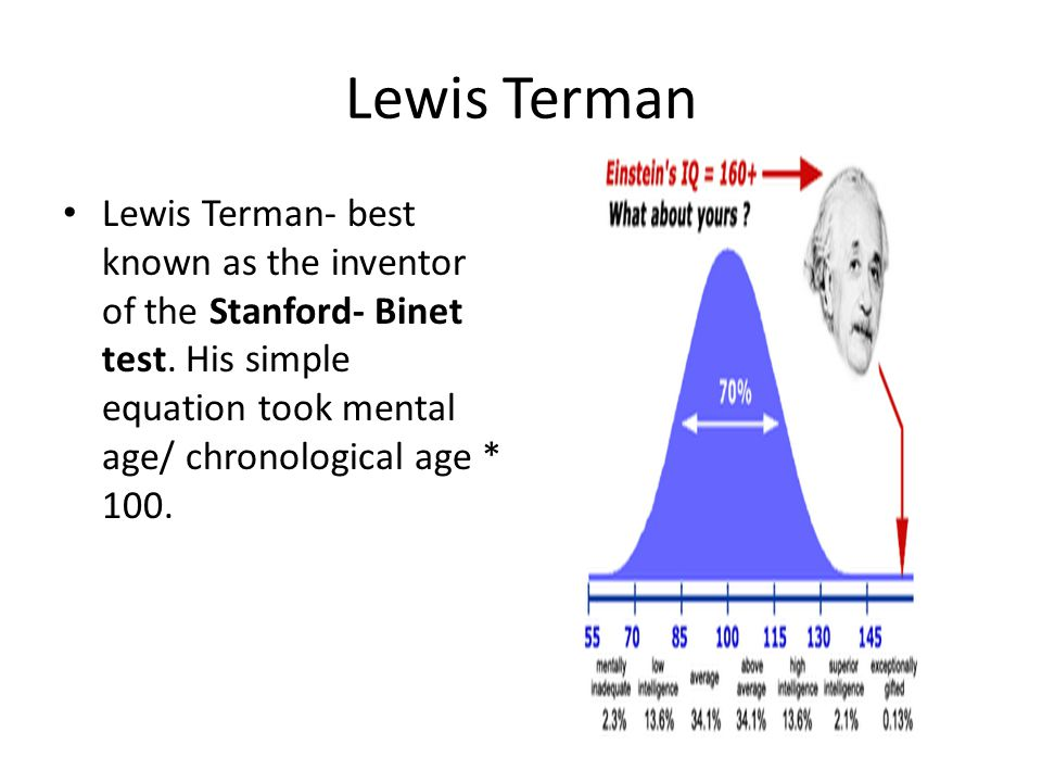 Lewis Terman Lewis Terman- best known as the inventor of the Stanford- Binet test.