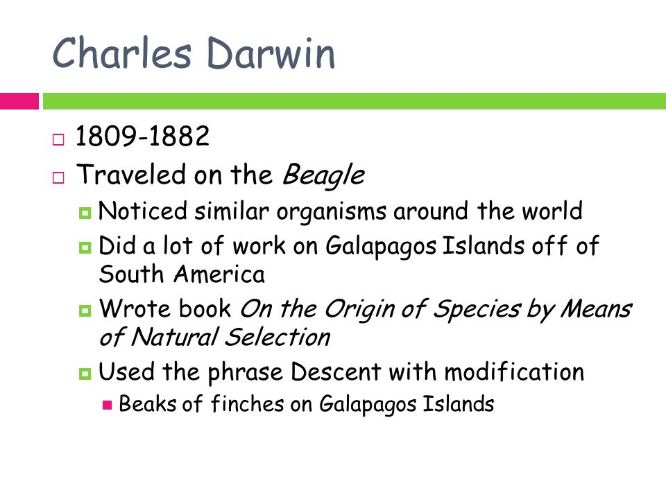 Charles Darwin 1809-1882 Traveled on the Beagle