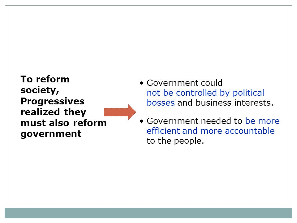 To reform society, Progressives realized they must also reform government