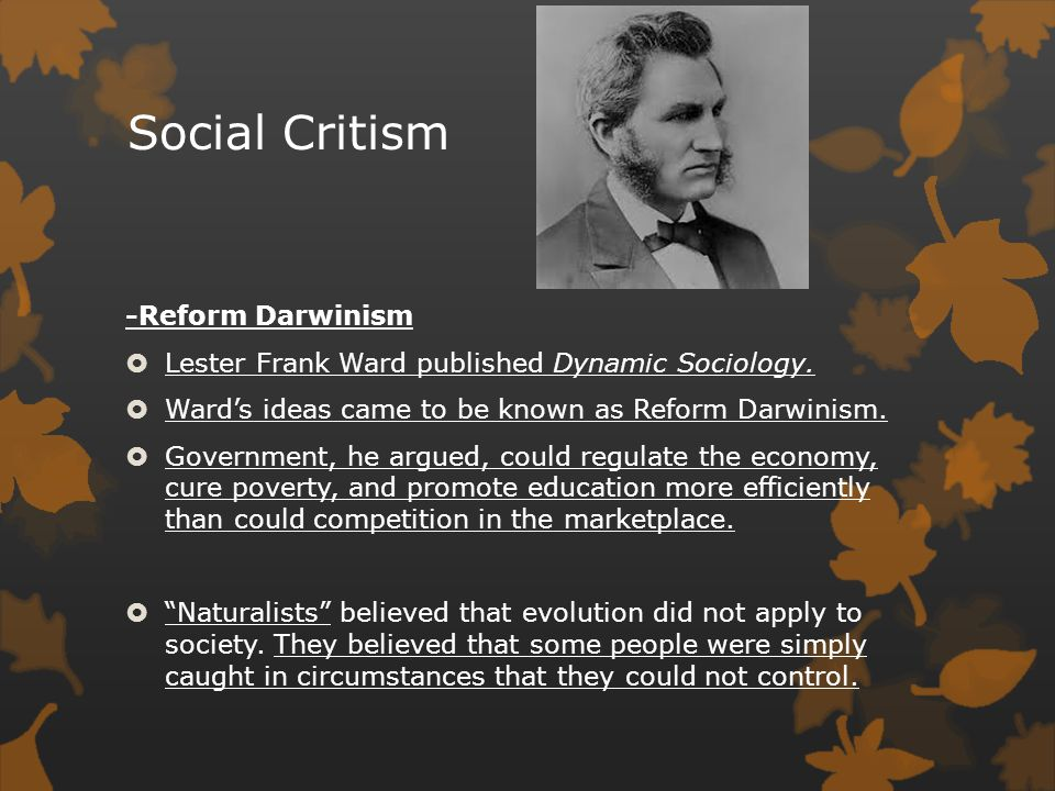 Social Critism -Reform Darwinism