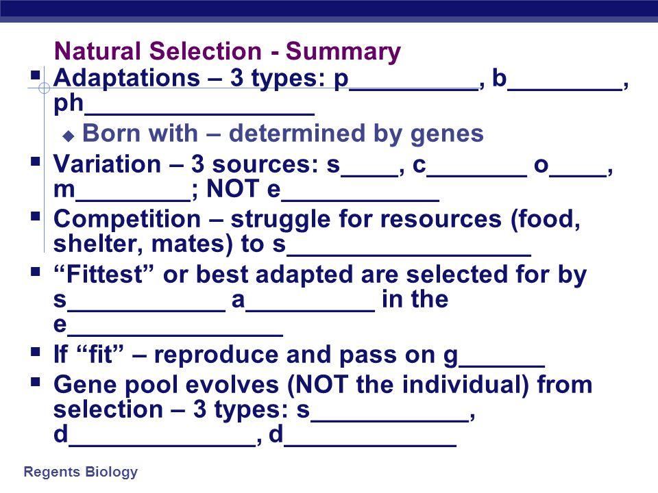Natural Selection - Summary