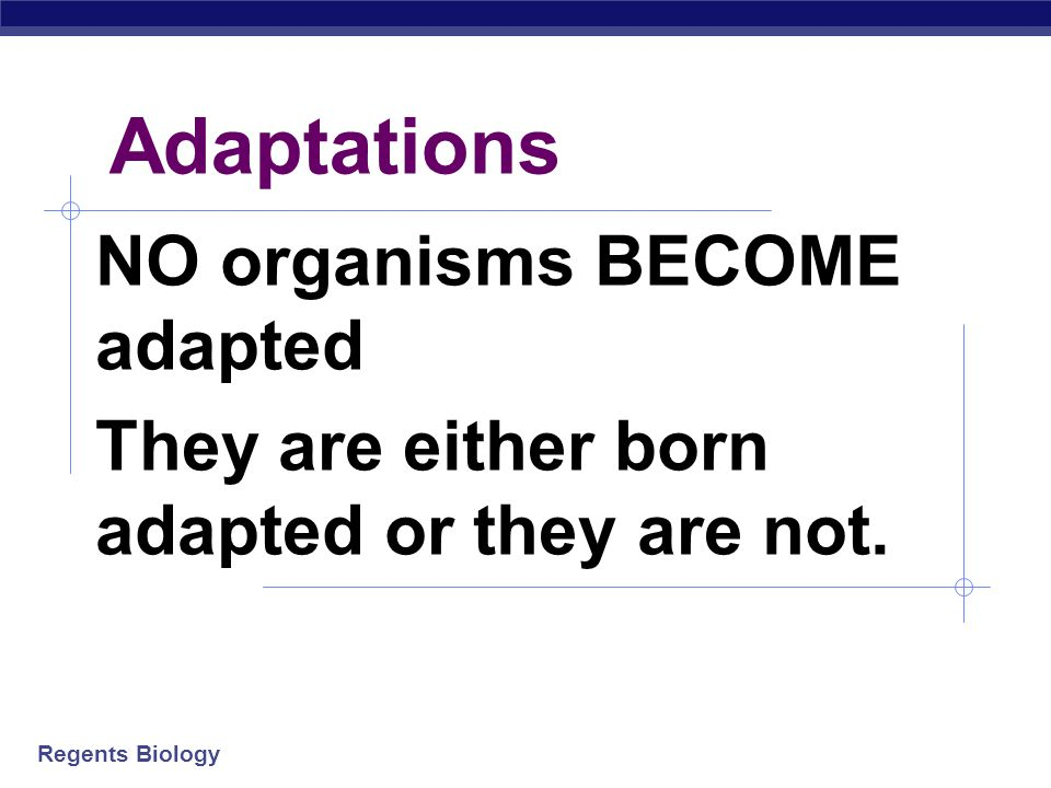Adaptations NO organisms BECOME adapted