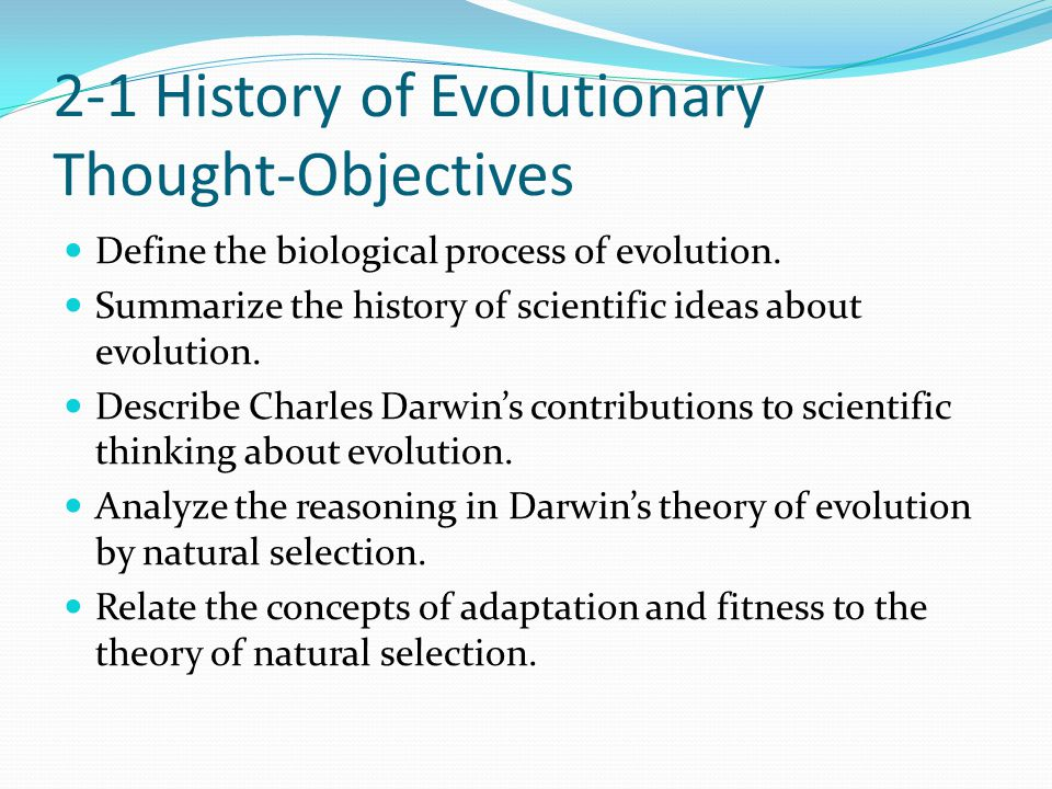 2-1 History of Evolutionary Thought-Objectives