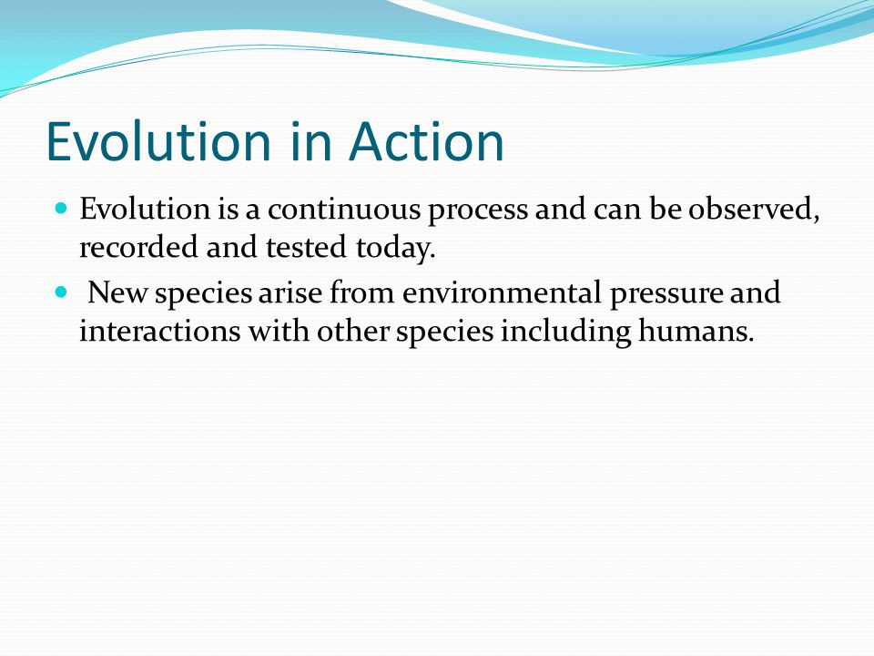 Evolution in Action Evolution is a continuous process and can be observed, recorded and tested today.