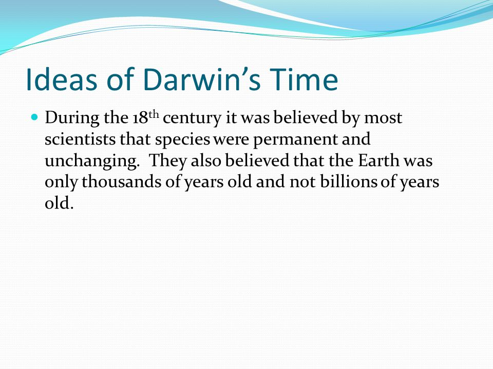 Ideas of Darwin's Time