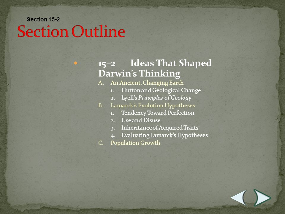 Section Outline 15–2 Ideas That Shaped Darwin's Thinking