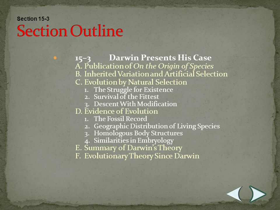 Section Outline 15–3 Darwin Presents His Case