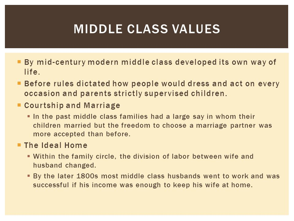 Middle Class Values By mid-century modern middle class developed its own way of life.
