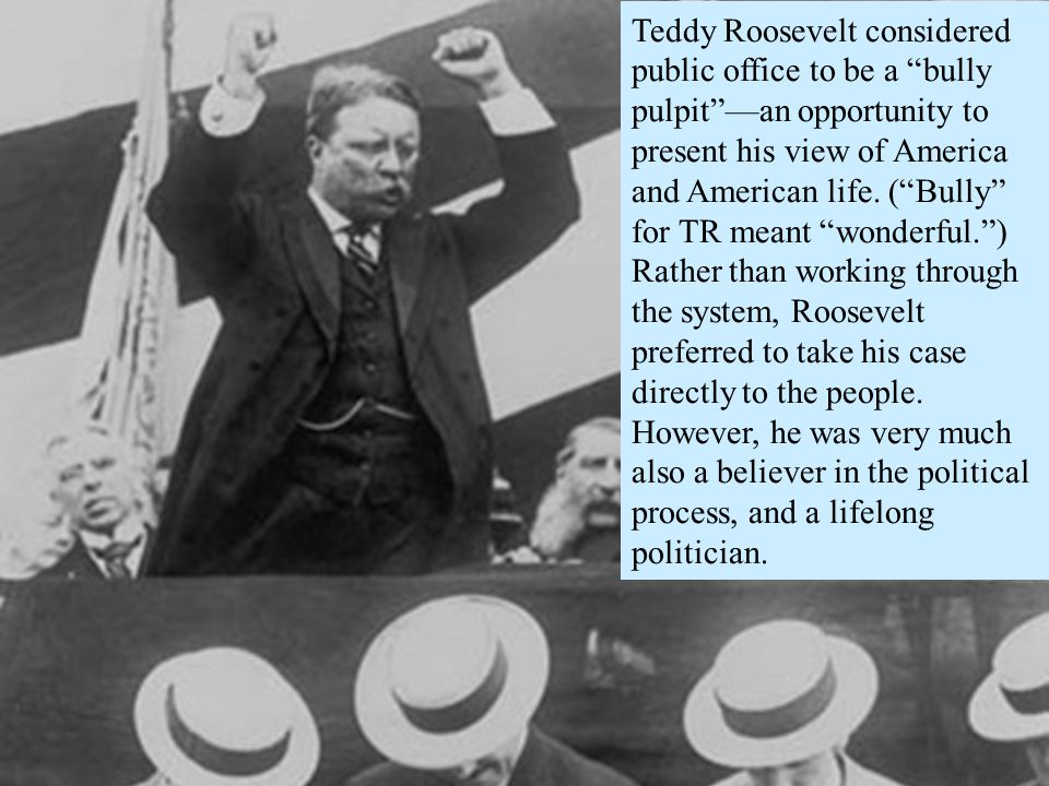 Teddy Roosevelt considered public office to be a bully pulpit —an opportunity to present his view of America and American life.