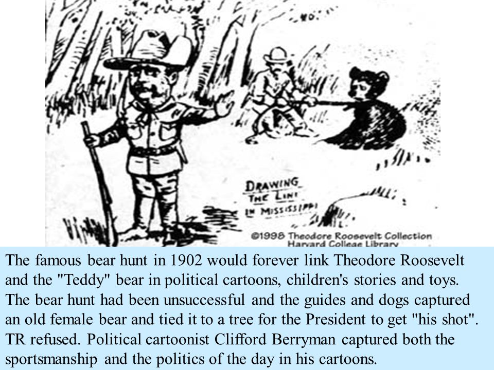 The famous bear hunt in 1902 would forever link Theodore Roosevelt and the Teddy bear in political cartoons, children s stories and toys.