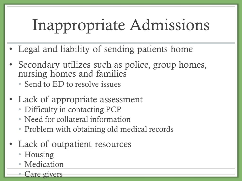 Inappropriate Admissions