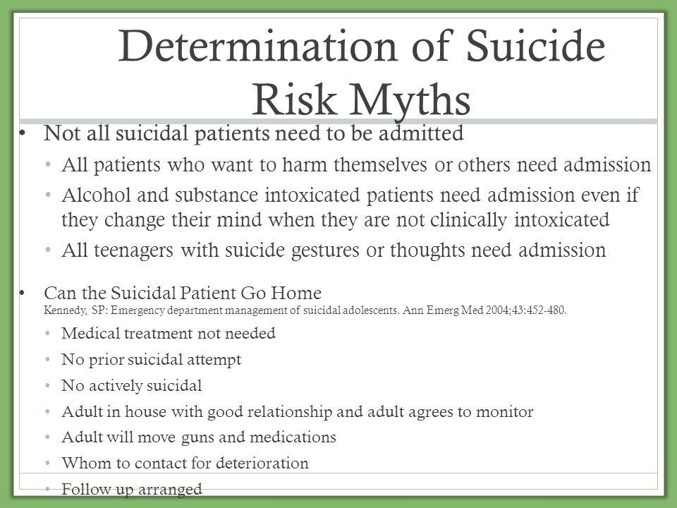Determination of Suicide Risk Myths