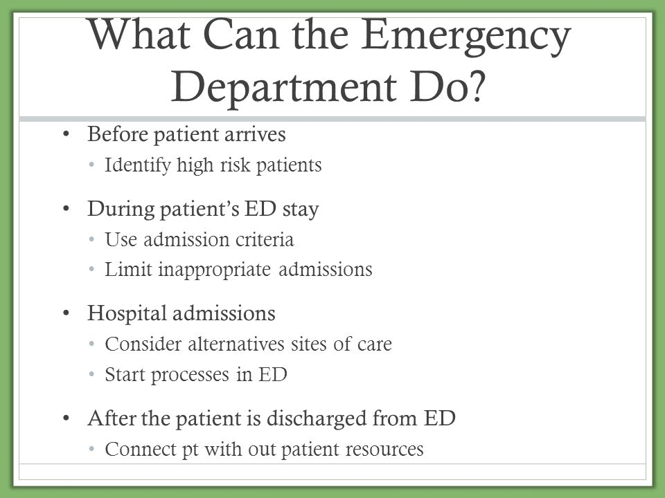 What Can the Emergency Department Do