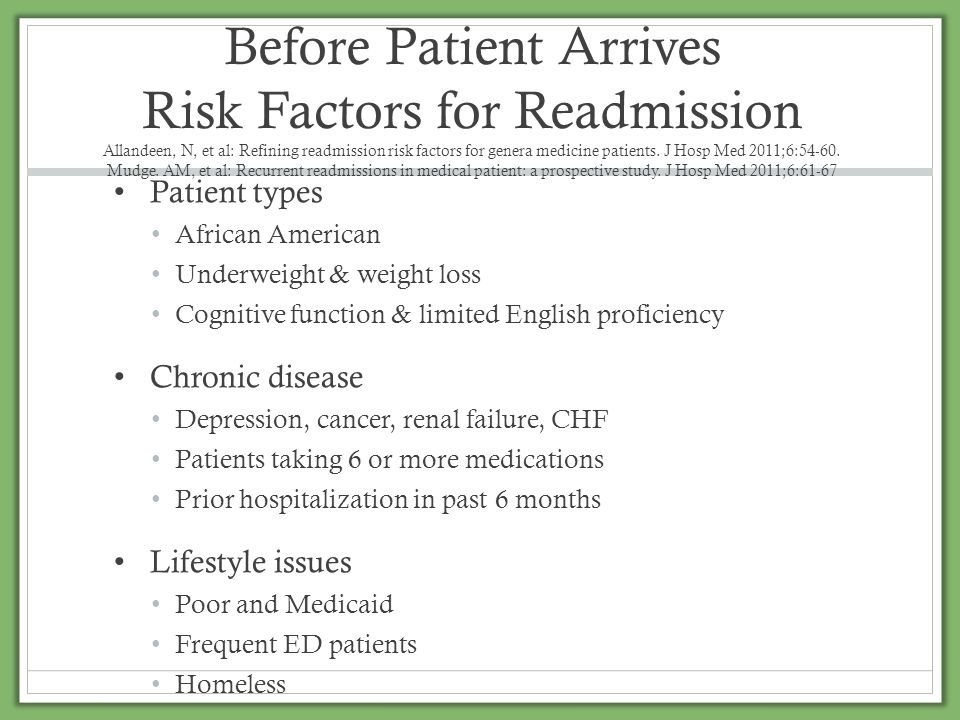 Before Patient Arrives Risk Factors for Readmission Allandeen, N, et al: Refining readmission risk factors for genera medicine patients. J Hosp Med 2011;6:54-60. Mudge. AM, et al: Recurrent readmissions in medical patient: a prospective study. J Hosp Med 2011;6:61-67