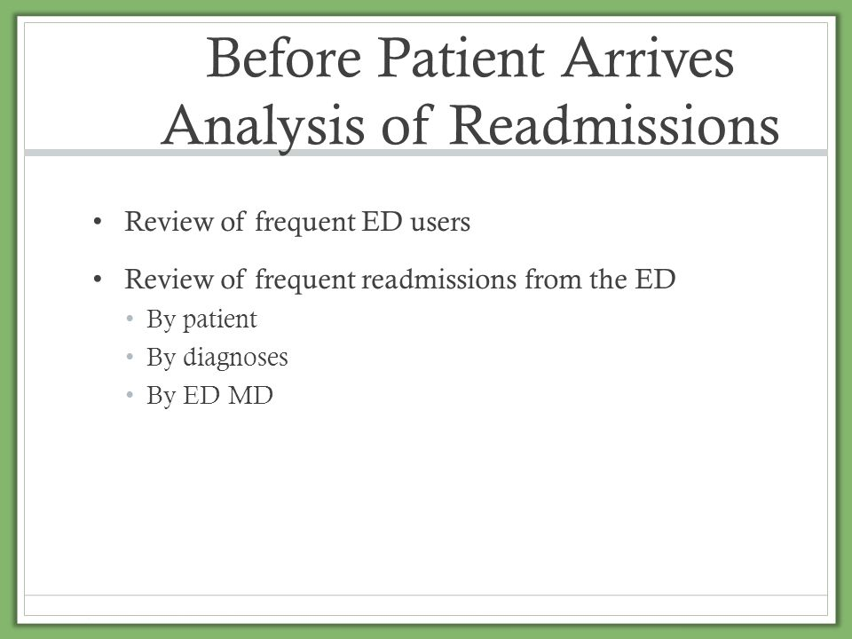Before Patient Arrives Analysis of Readmissions